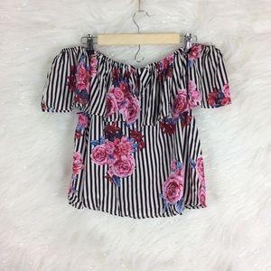 IRIS | Floral striped off shoulder top